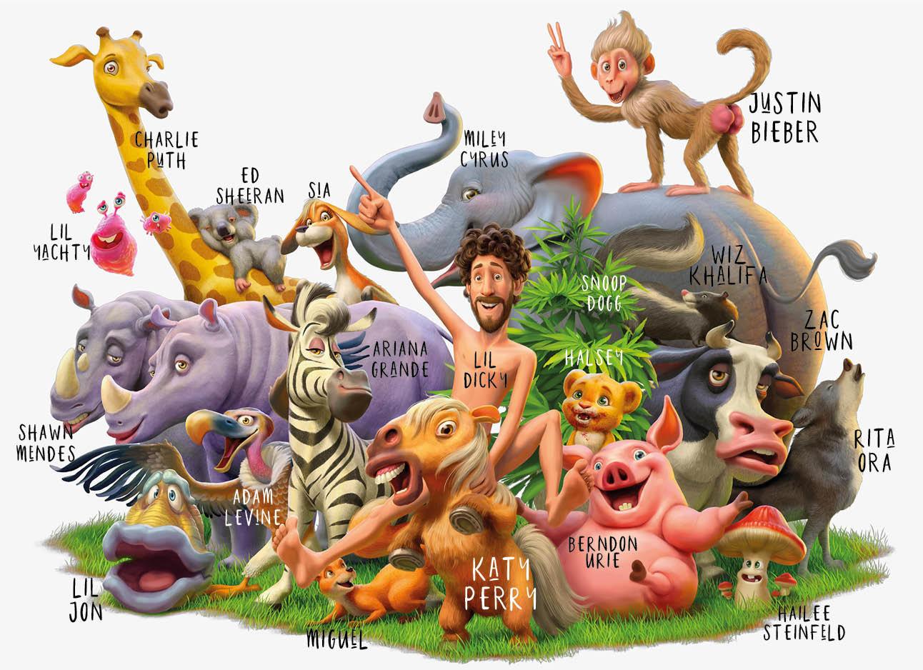 lil dicky en alle dieren van The earth muziek clip animatie