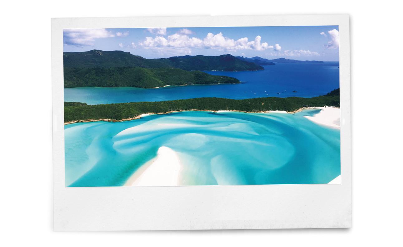 beelden van eilanden met witte stranden en blauw water