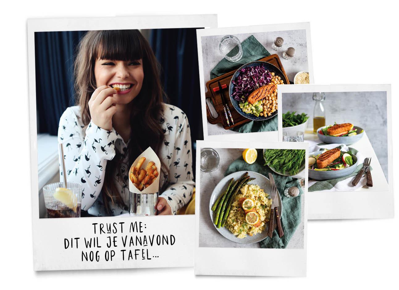 kiki duren lachend friet eten en verschillende zalm gerechten