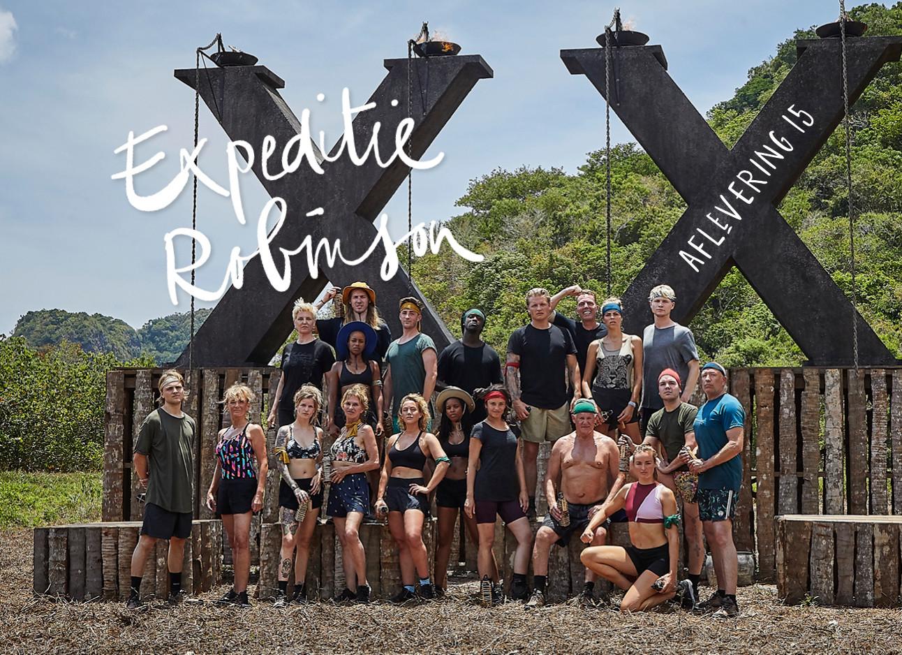 persfoto van het hele team van expeditie robinson