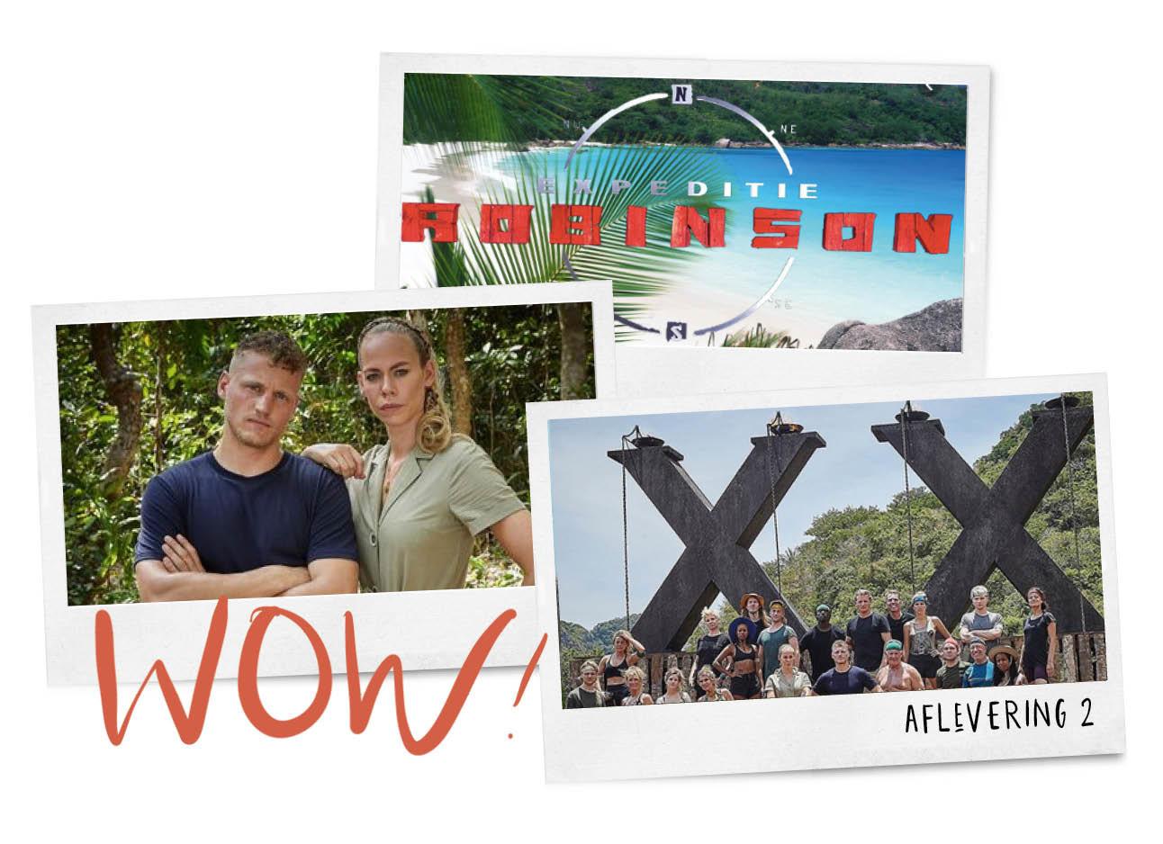 Op de foto staan 3 beelden van de serie expeditie robinson