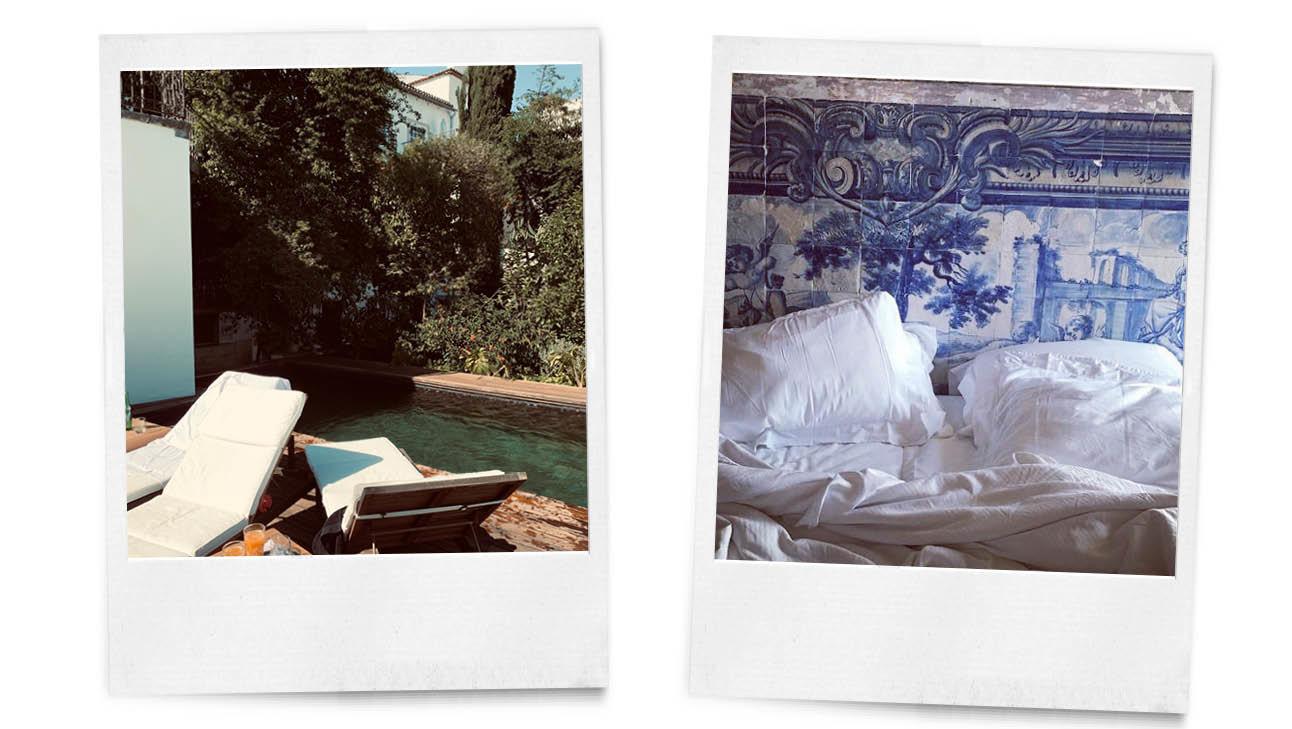 strandstoelen bij het zwembad bed met blauwe portugese tegeltjes muur,