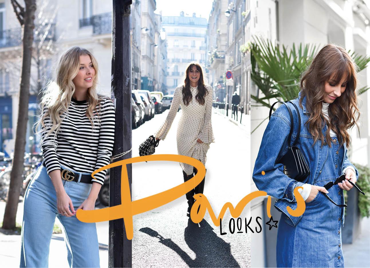 lilian brijl en annabelle lachend in parijs in jeans kleding en mooie lange stippen jurk in de straten lopend op de foto