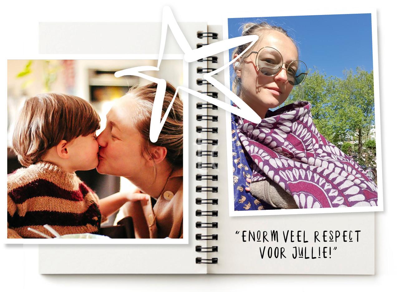 carolien spoor met otis moeder en zoon elkaar kus geven