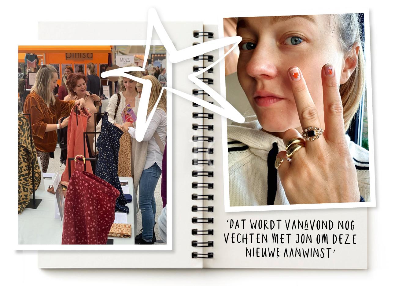 een beeld van carolien met haar hand en carolien h=die kleding verkoopt