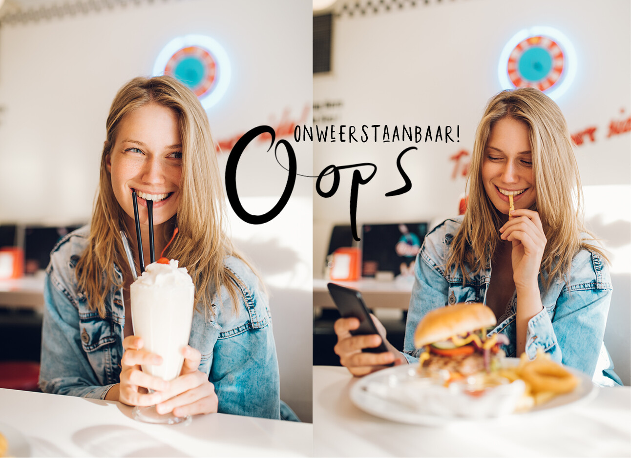 vrouw drinkt een milkshake en eet frietjes in een fastfood restaurant