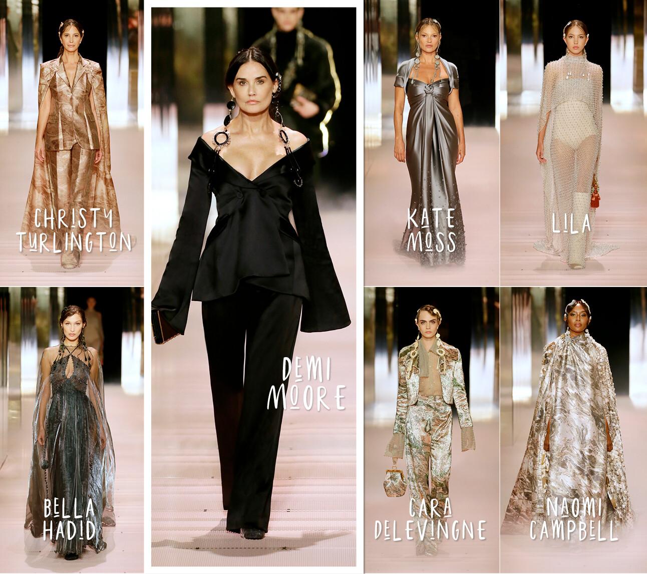 Fendi Fashion show Demi rockt de runway en Kate Moss is grijs