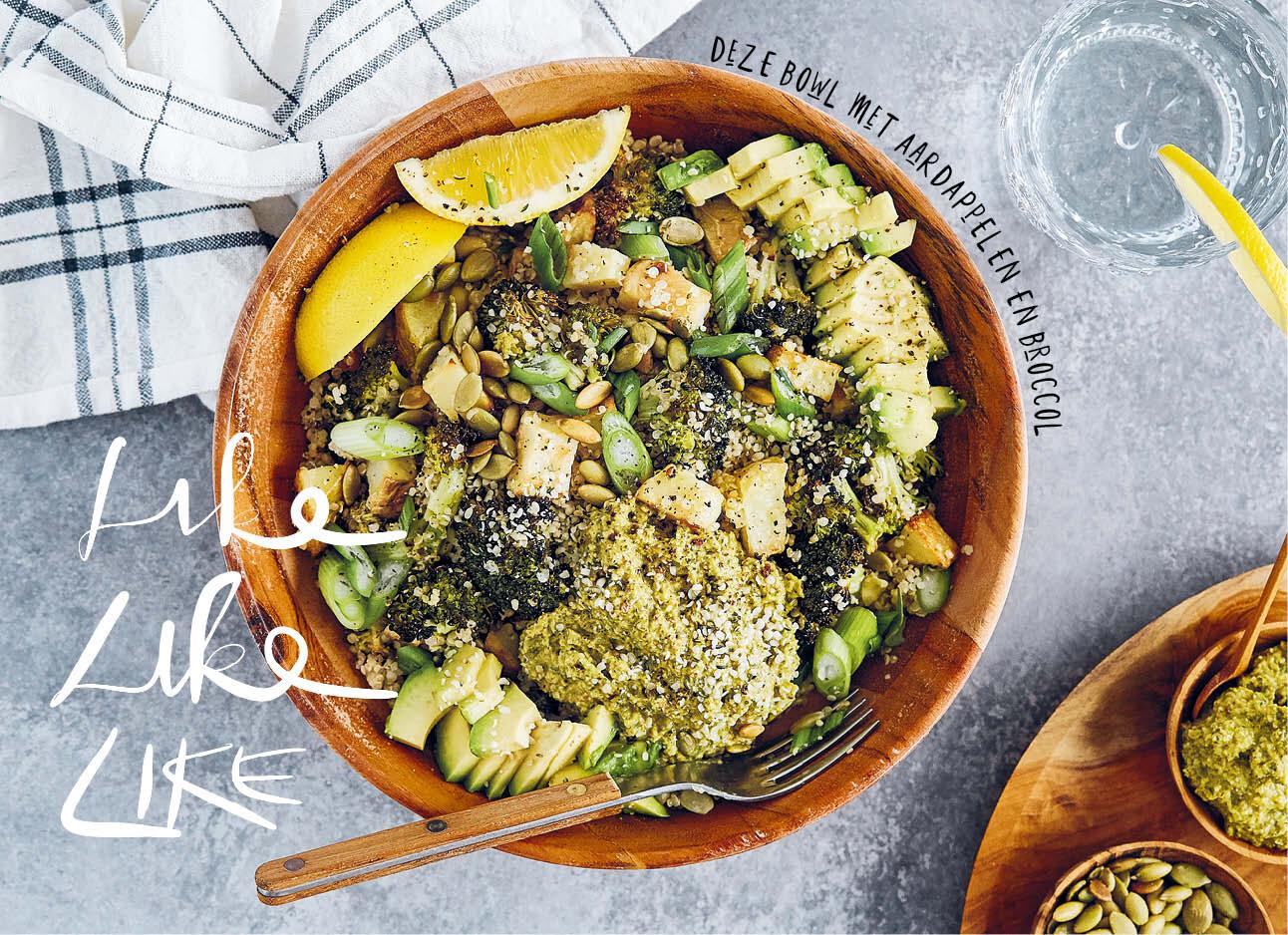 Een groene vegan pokebowl