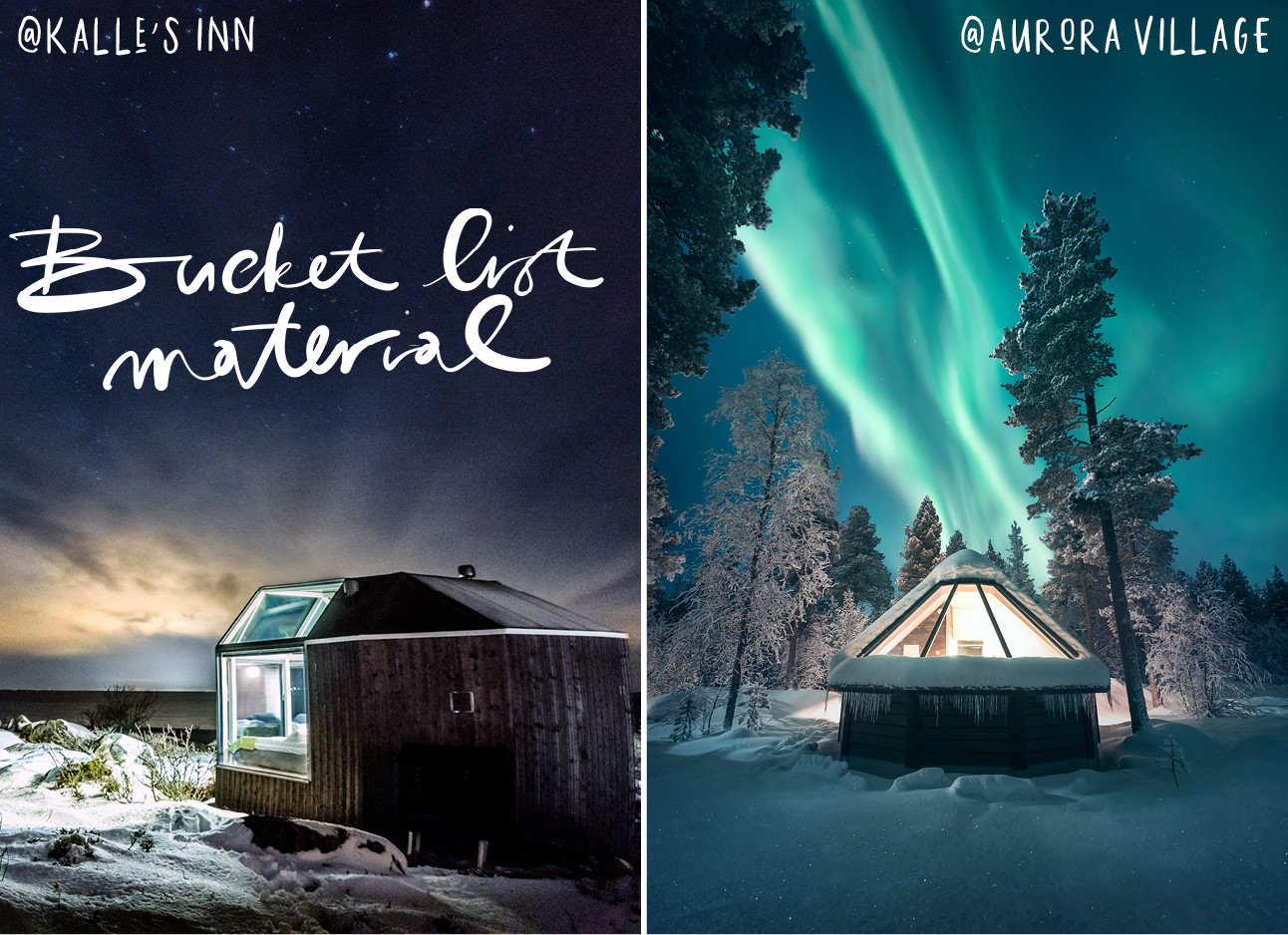 beelden uit finland met het noorderlicht en kleine huisjes om in te overnachten en veel sneeuw