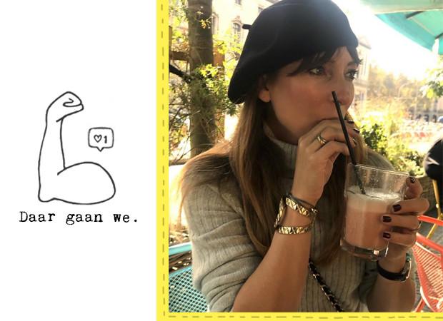 May-Britt die een smoothie drinkt