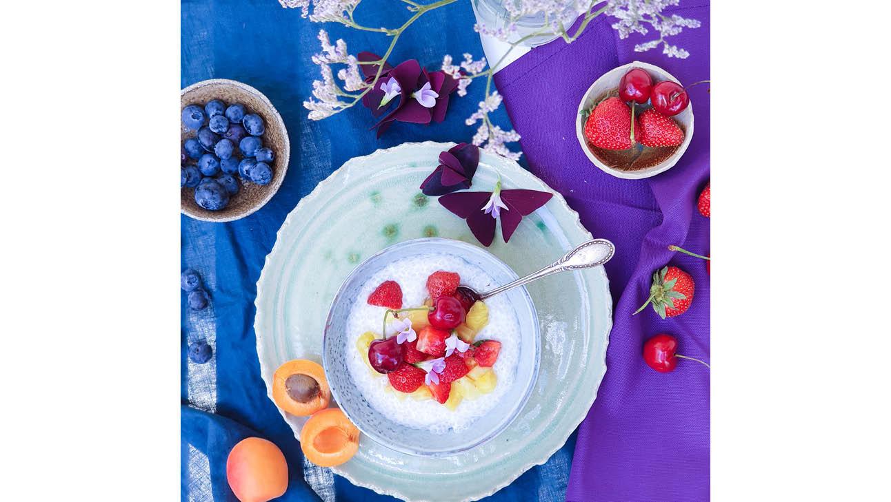 bord vers fruit aardbeien