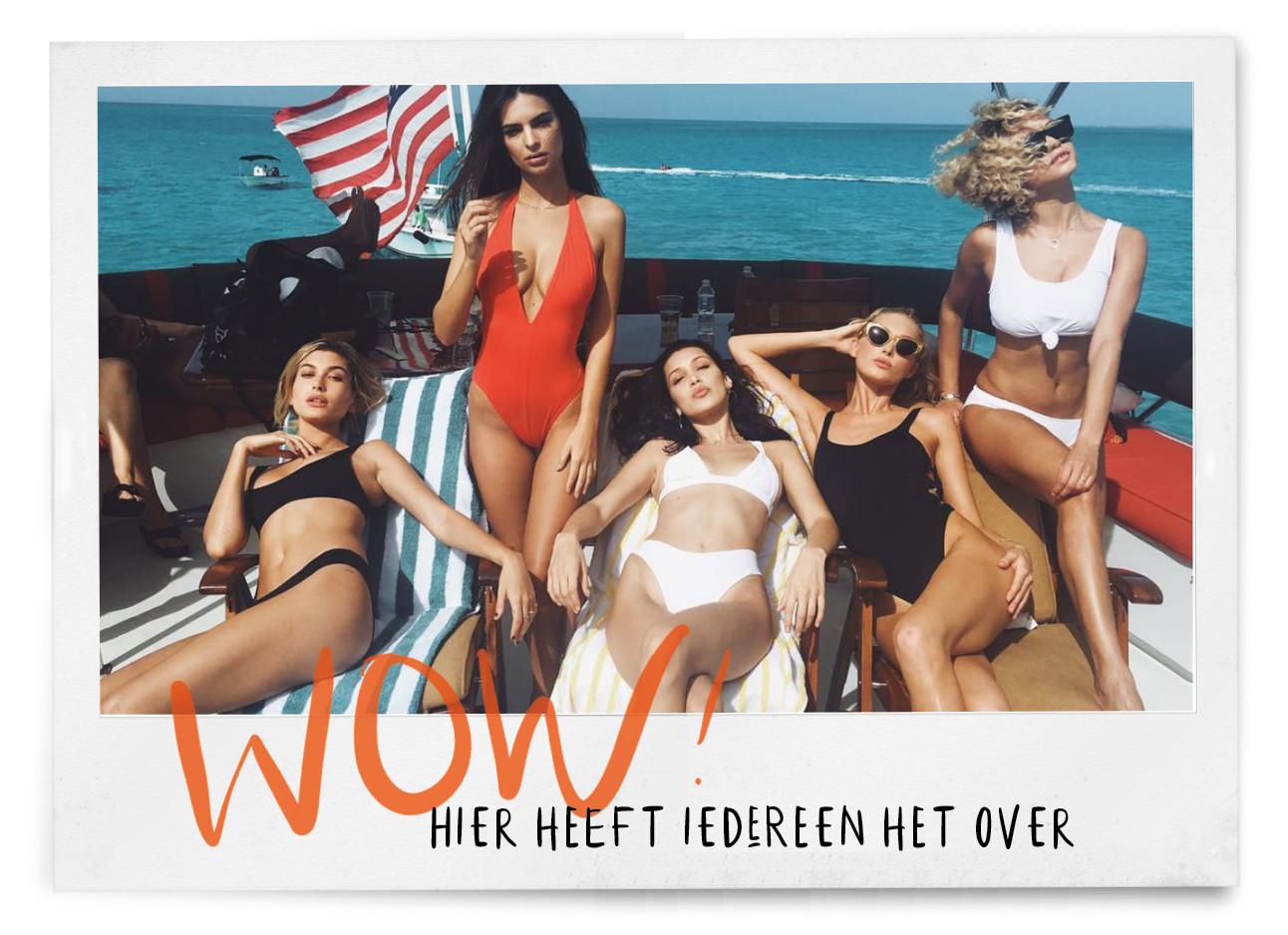 fyre festival modellen op een boot in de zon met badpak en bikini