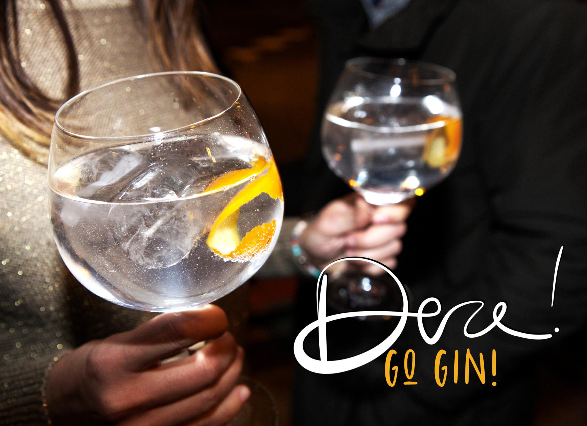 gin tonic in groot glas met sinaasappel