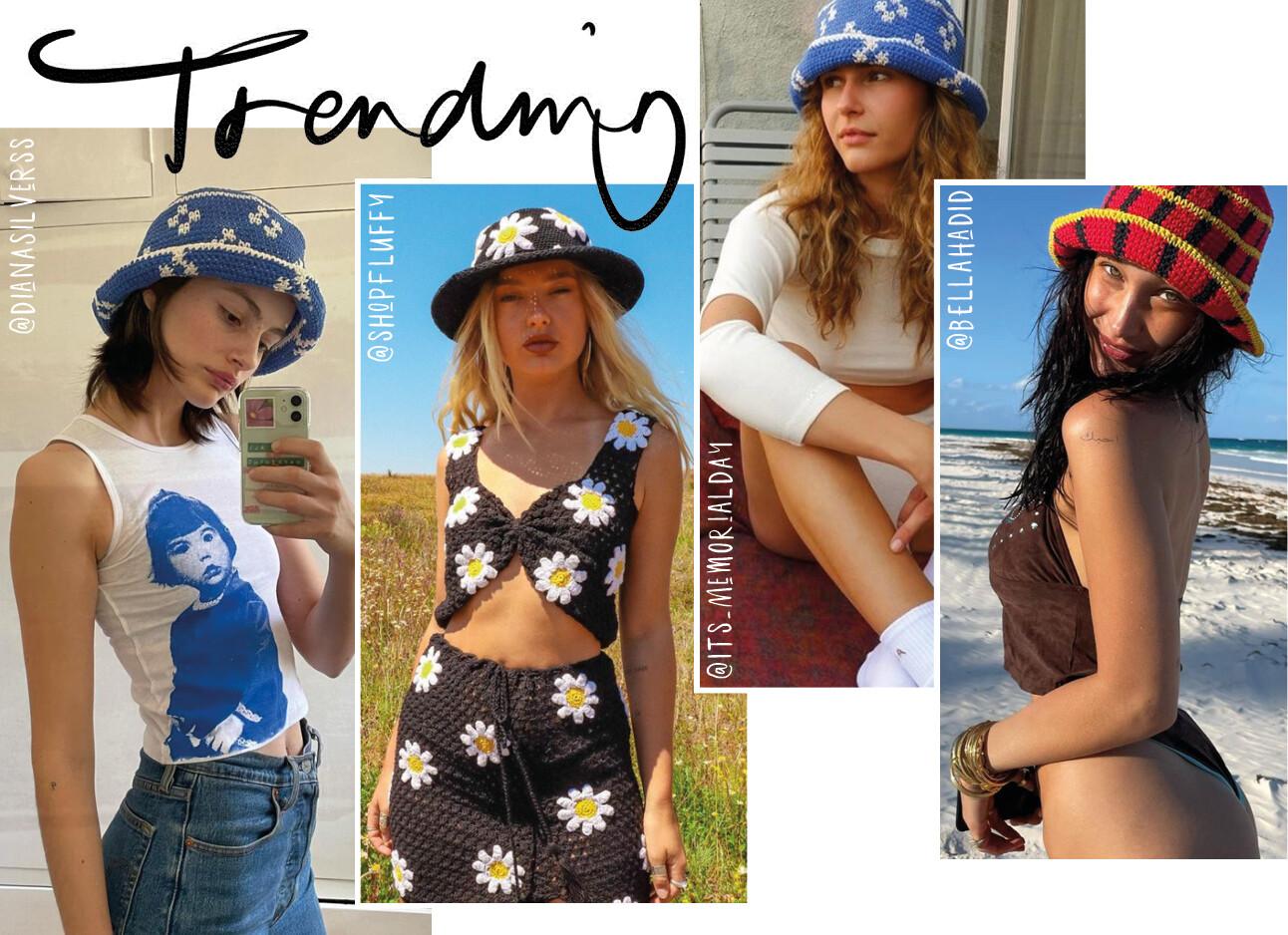 Modemeisjes met crochet hoedjes op