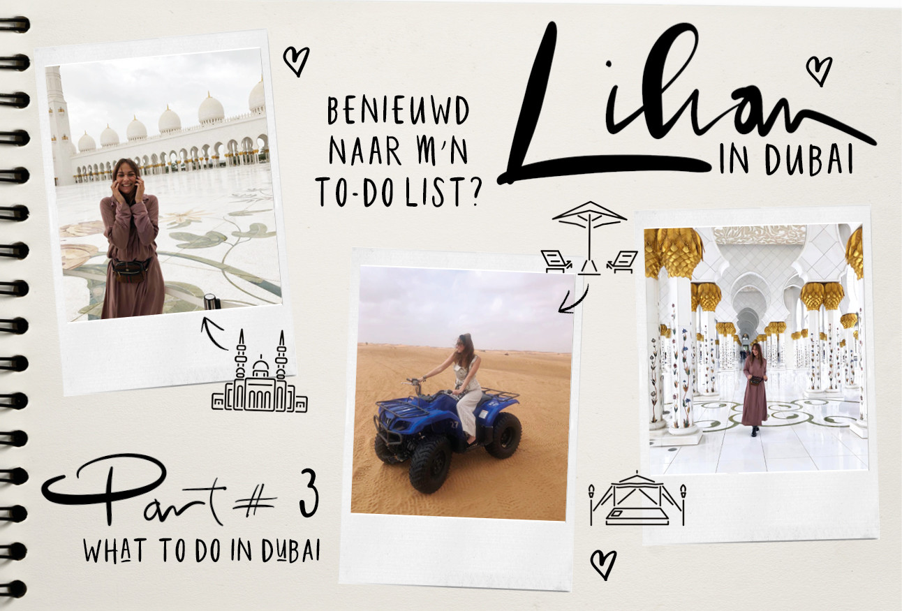 Lilian brijl in Dubai lachend op een blaadje met this to do