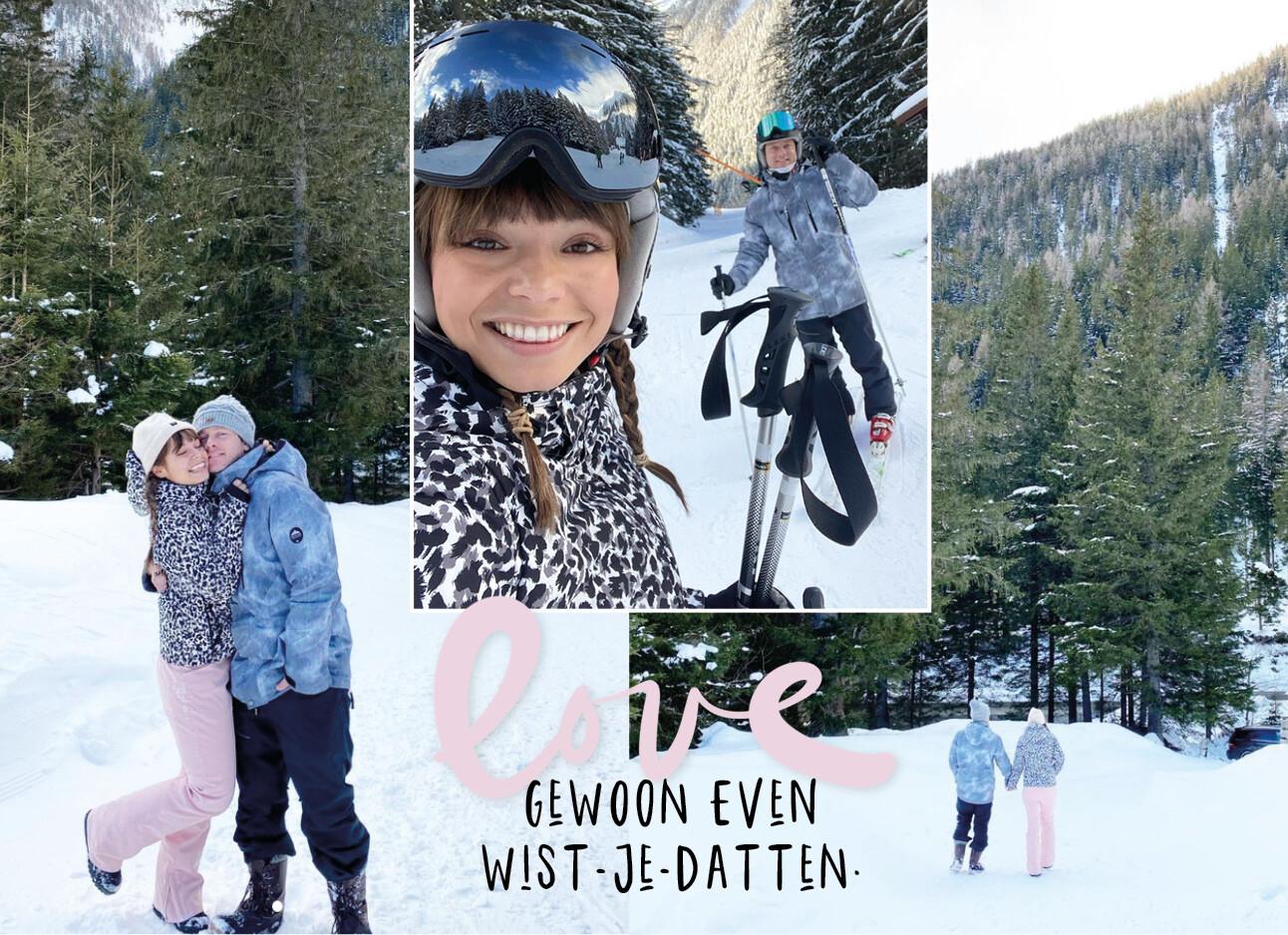 Kiki met haar vriend in de sneeuw