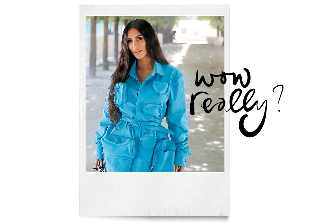 kim Kardashian blauwe jump suit