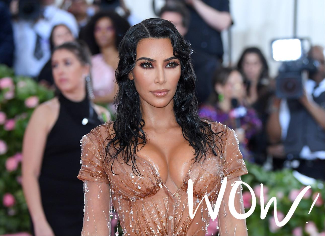 kim kardashian op het MET gala 2019 in een nude kleurige jurk met glitters