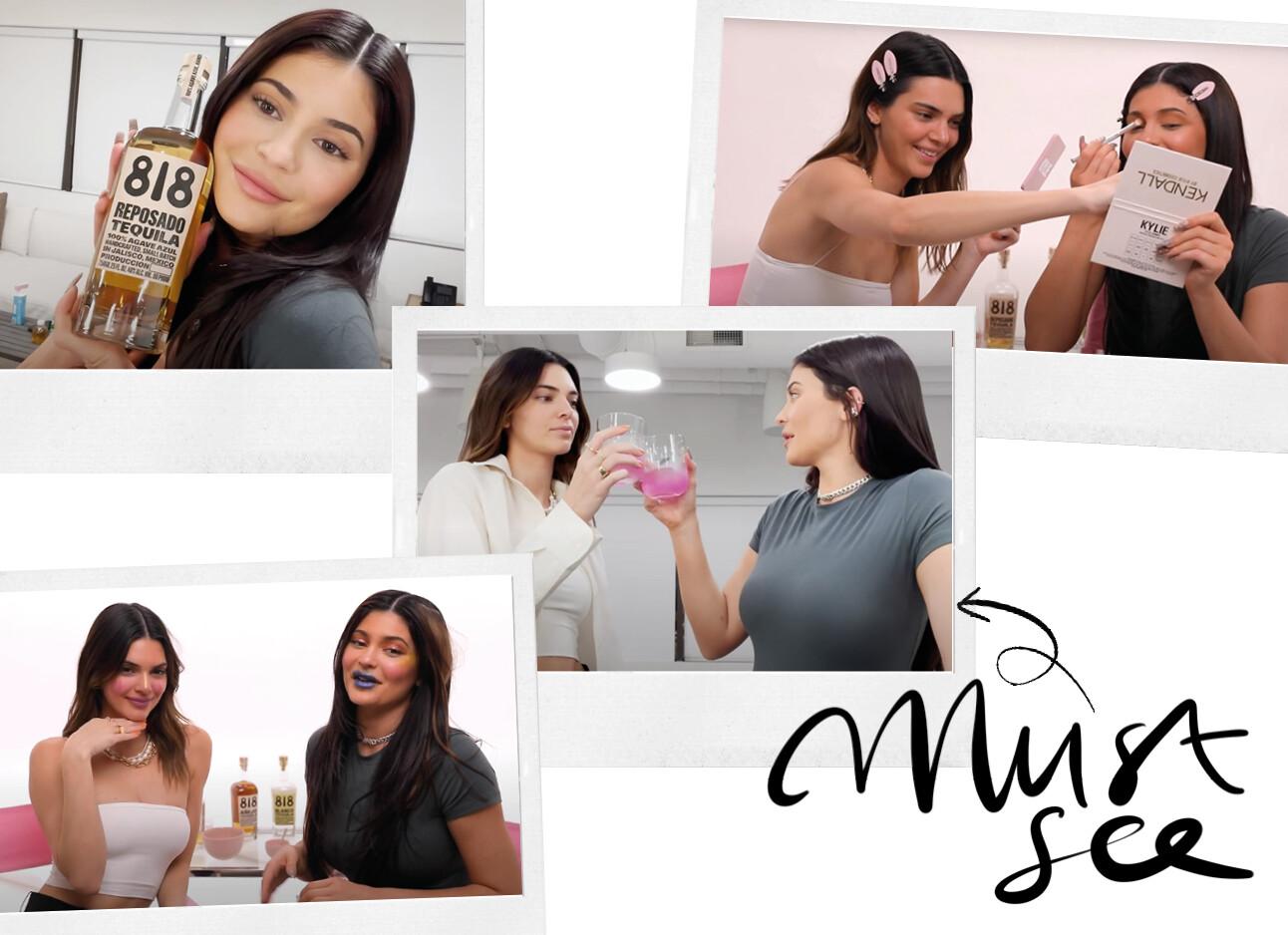 Kylie en kendall doen dronken elkaars make-up