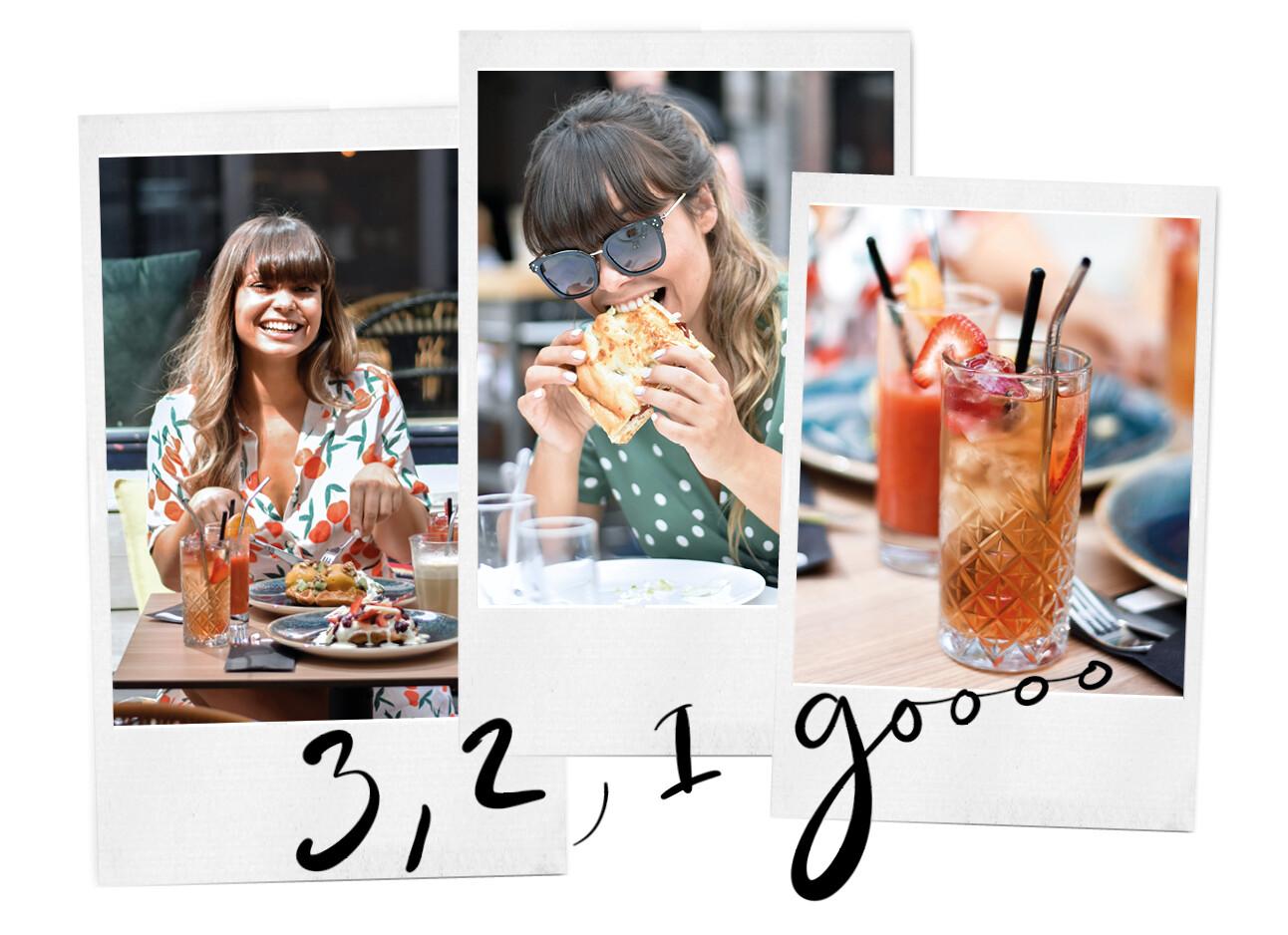 Kiki op een terras met eten en drinken