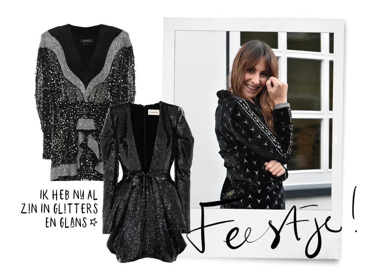 Lilian brijl lachend in een jasje van alix the label met glitter jurkjes