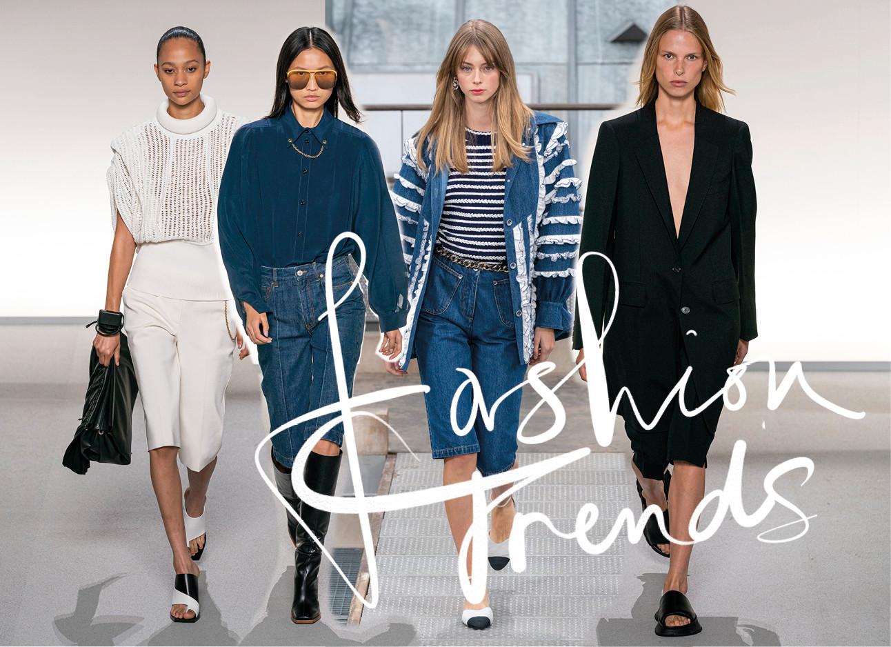 fashion modellen op de catwalk met een capri broek aan