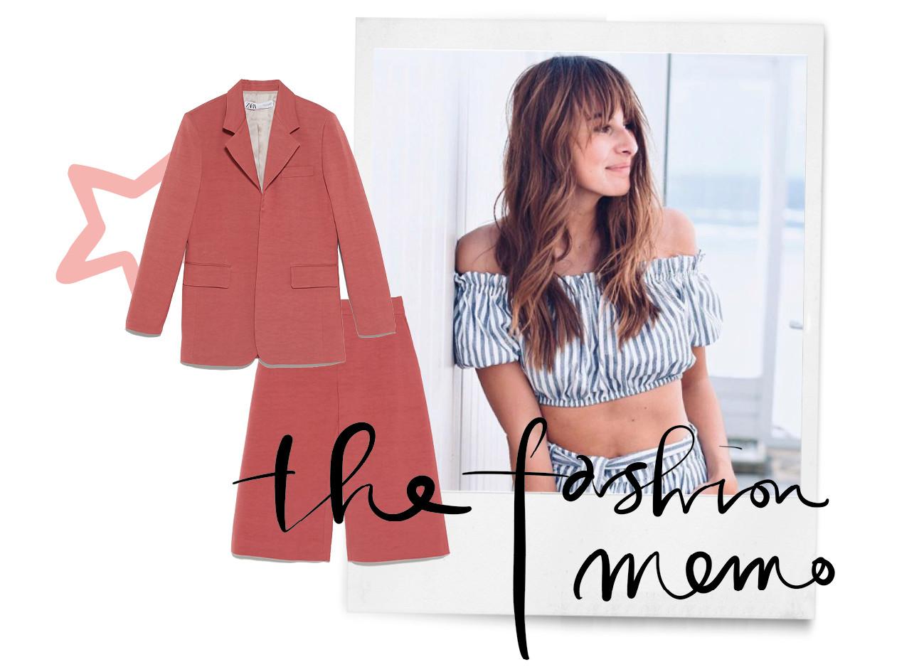 summer suits shopping van lilian brijl, lichtblauwe co ord met streepjes op het strand, rood suit met korte broek, the fashion memo