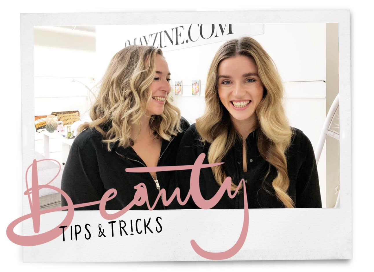 Adeline Mans en Lotte van Scherpenzeel lachend op de redactie amayzine.com met krullen in hun haar