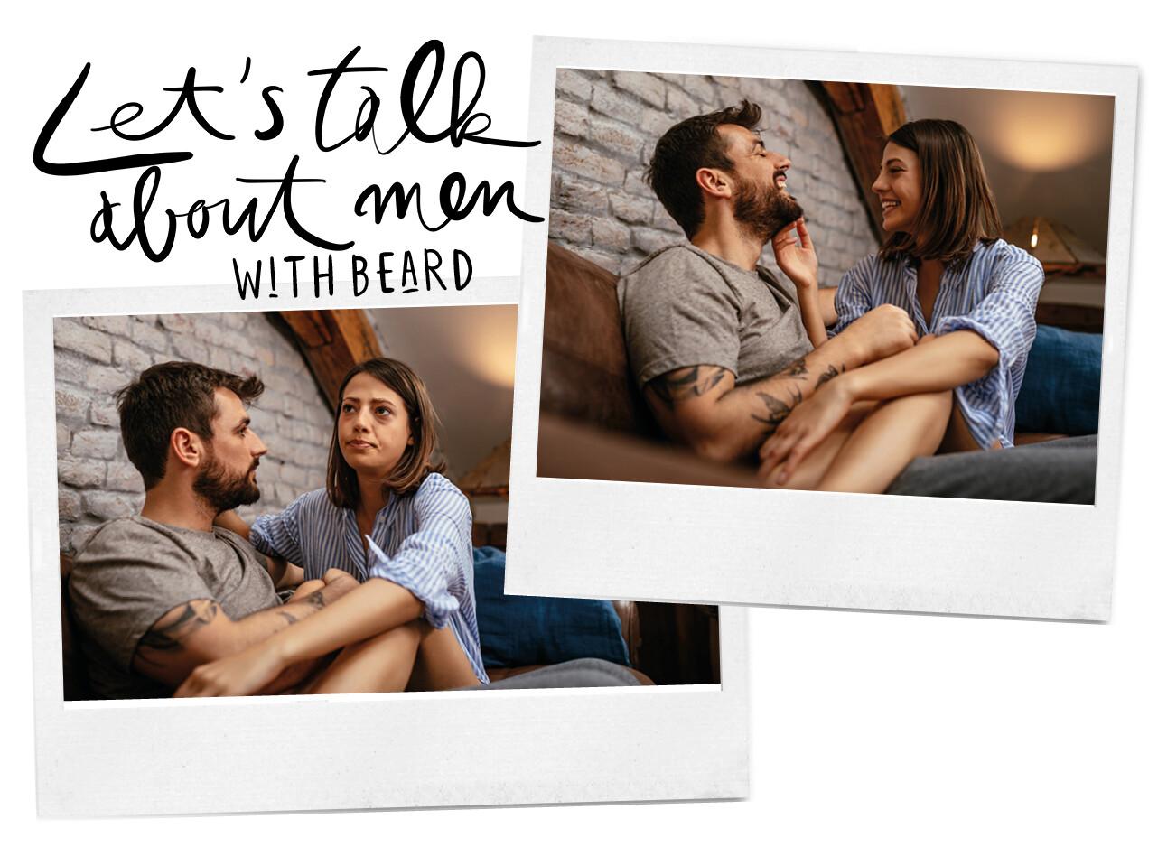 couple hugging en touching the beard of the man