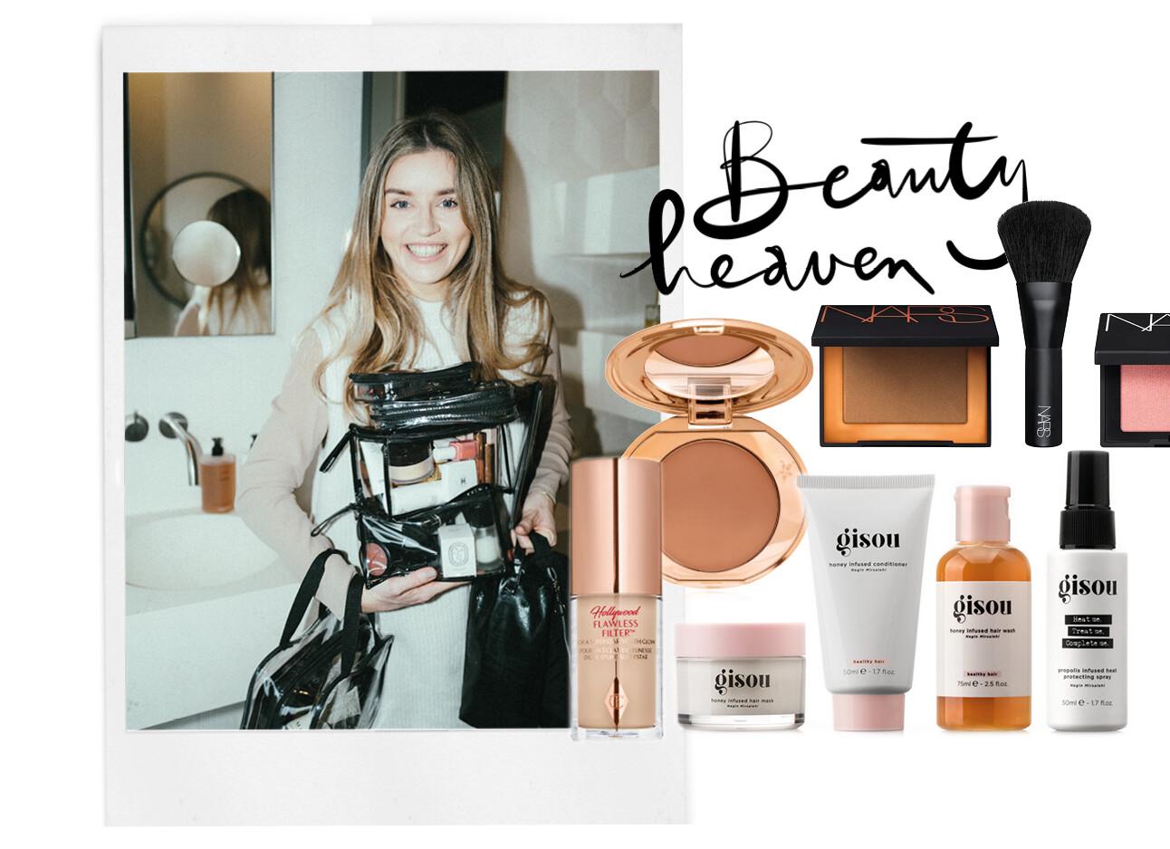 lotte lachend met make-up tassen beauty APK mini's travel size makeup