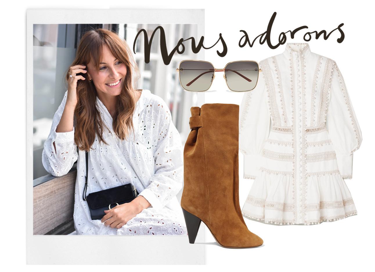 Lilian lachend met een wit jurkje aan en shopping beelden suede laarzen zonnebril en jurk