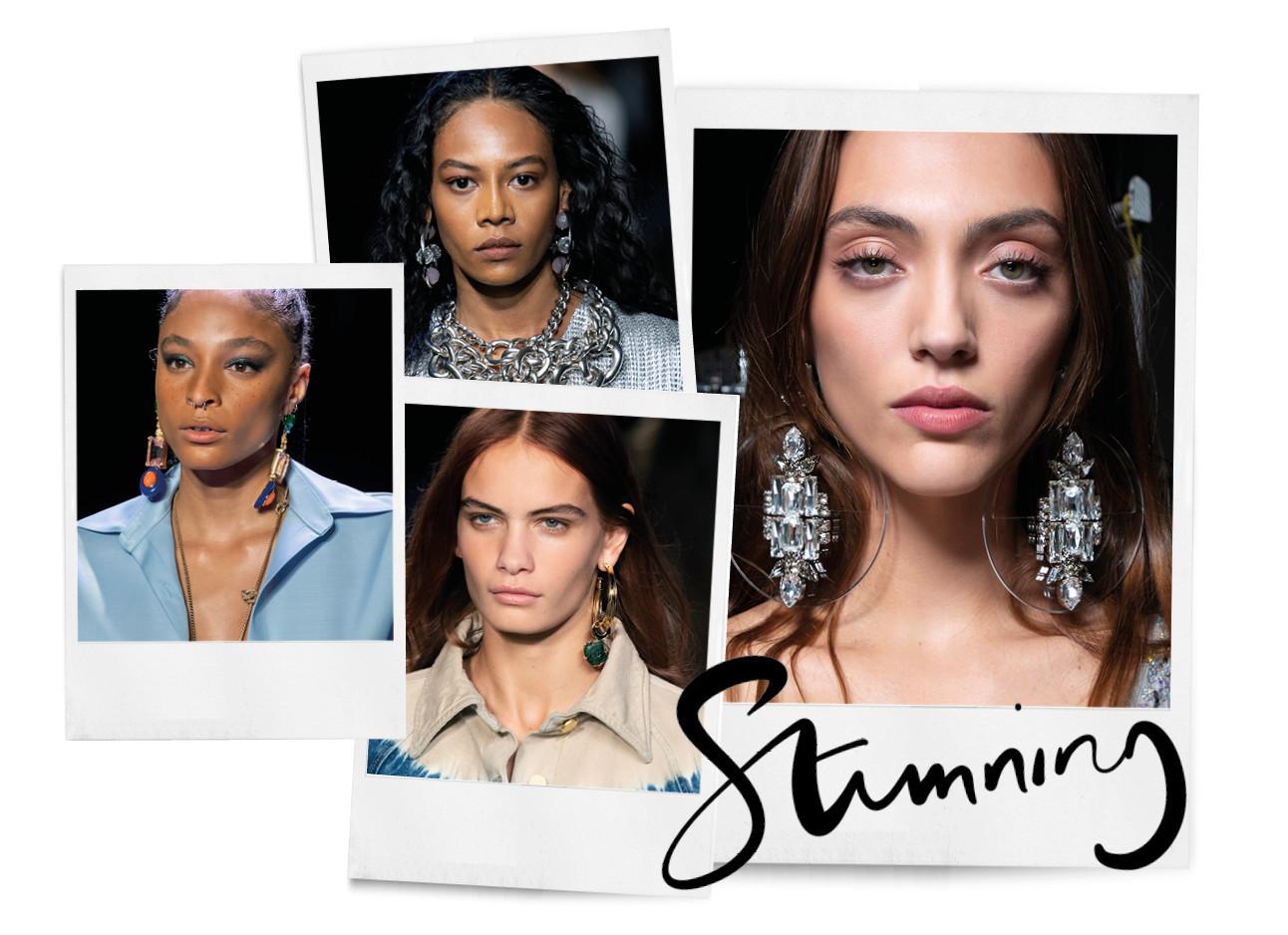Modellen met grote oorbellen fashion statement