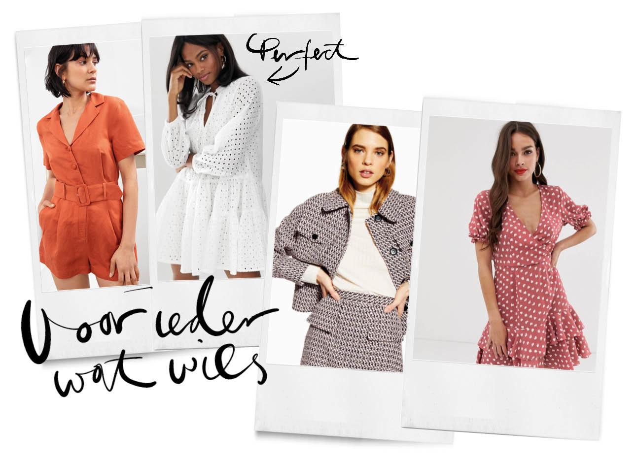 modellen in verschillende outfits die je kan shoppen