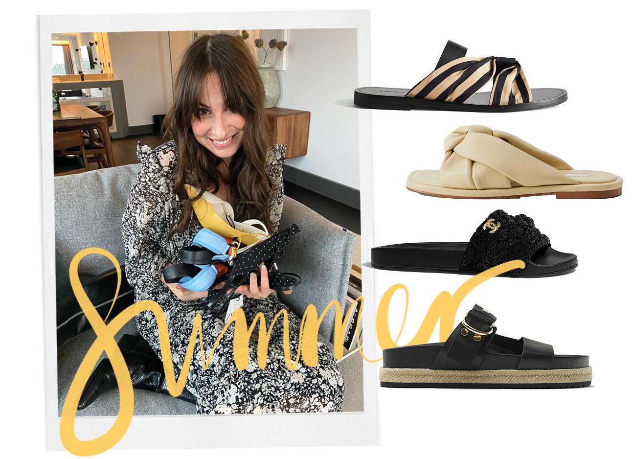 Lilian lachend met schoenen in haar handen