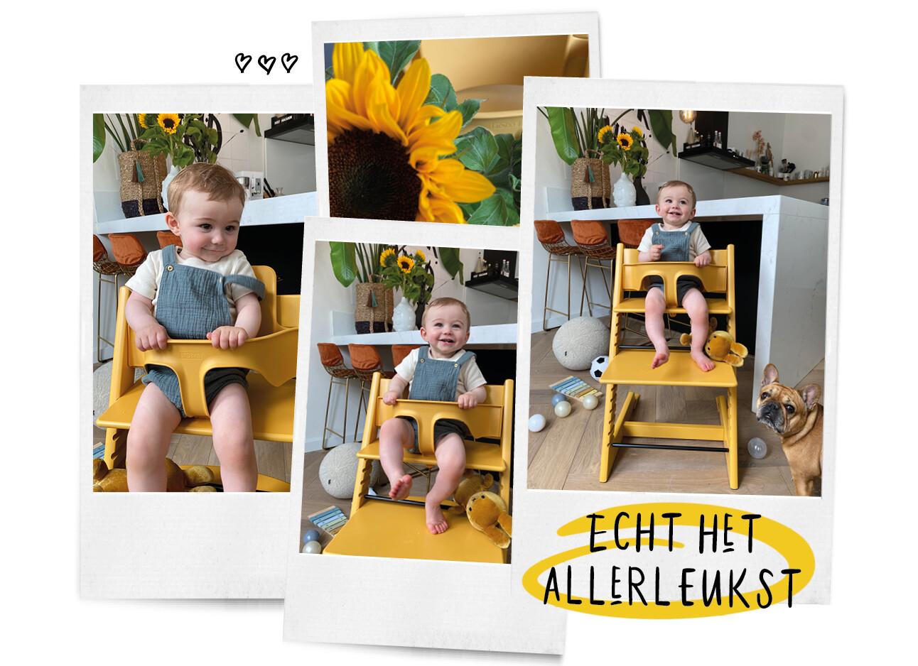 Enzo in de gele Stokke Tripp Trapp stoel