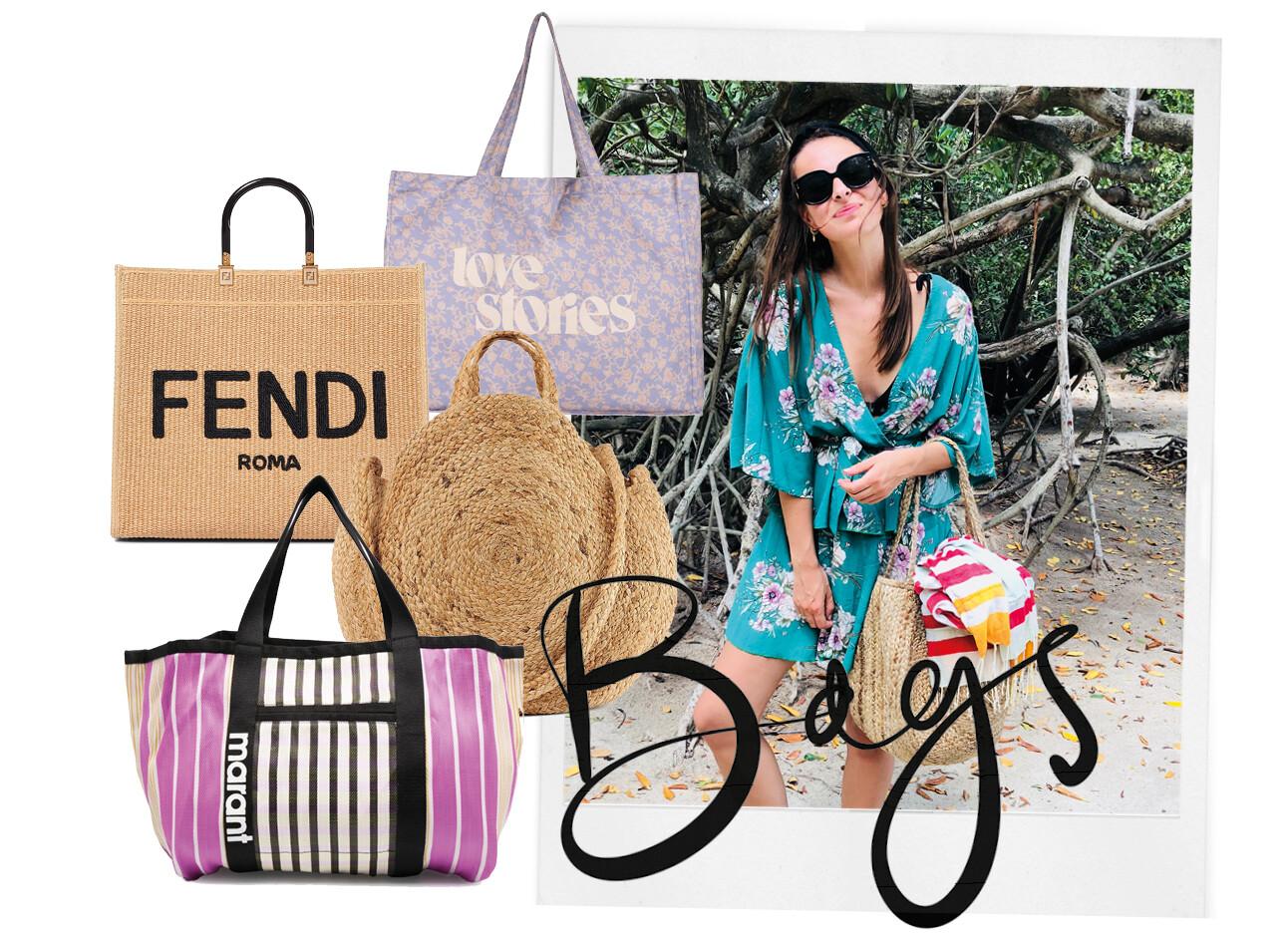 lilian op het strand met een tas en shopping items