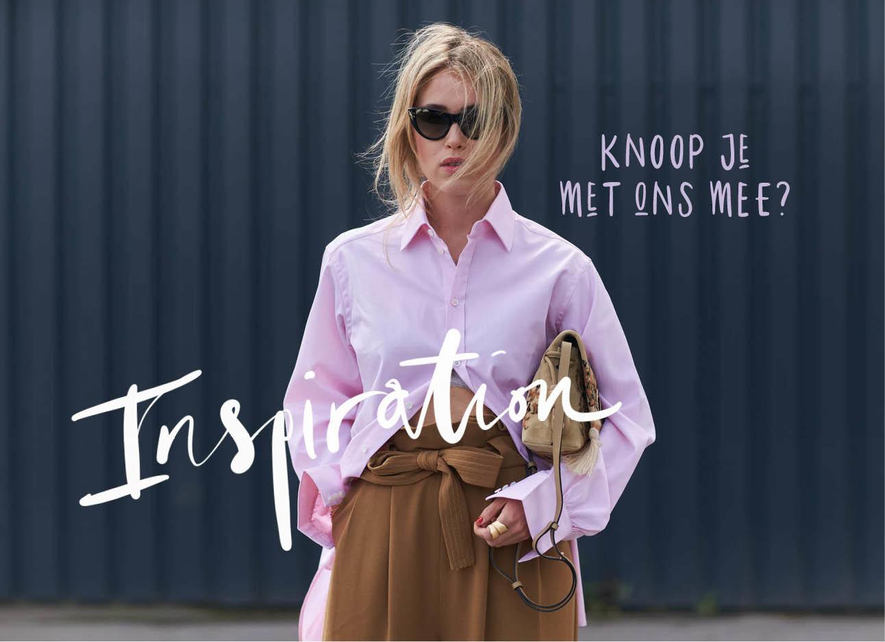 blouse inspiratie vrouw op straat met tas onder haar handen