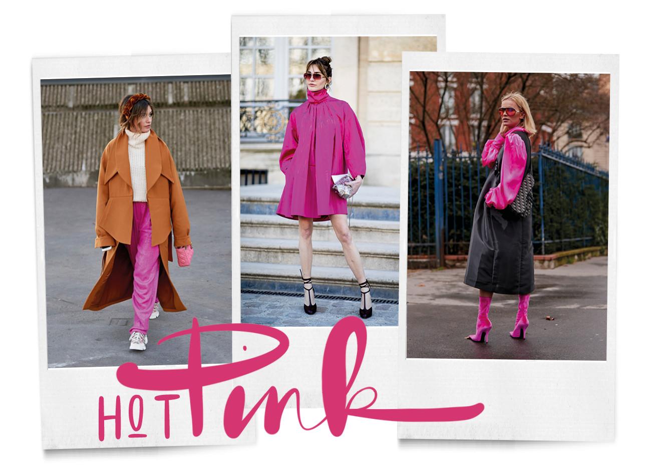 3 vrouwen in de kleur hot pink bij fashion week