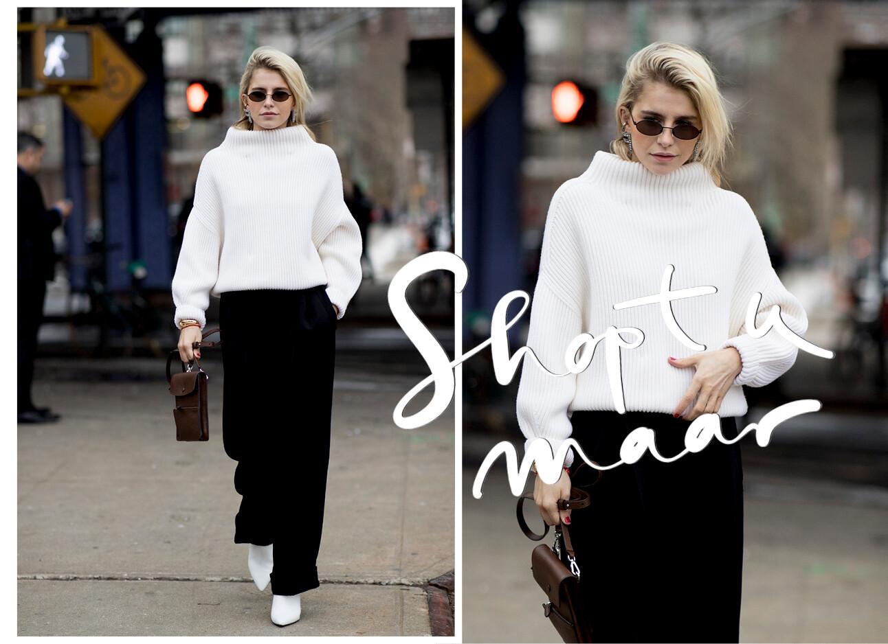 witte trui zwarte broek streetwear fashion op straat