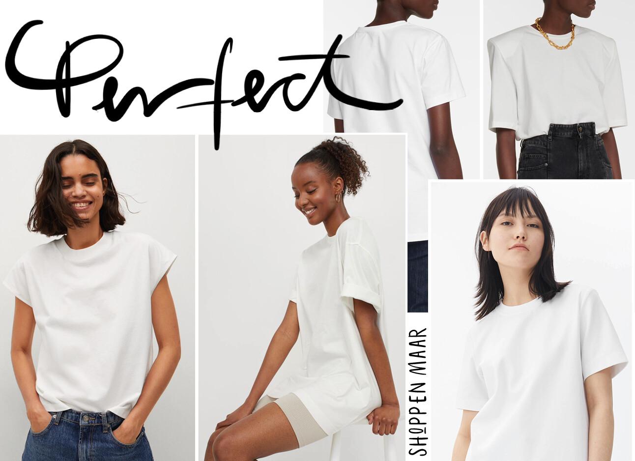 Witte basic t-shirts om te shoppen