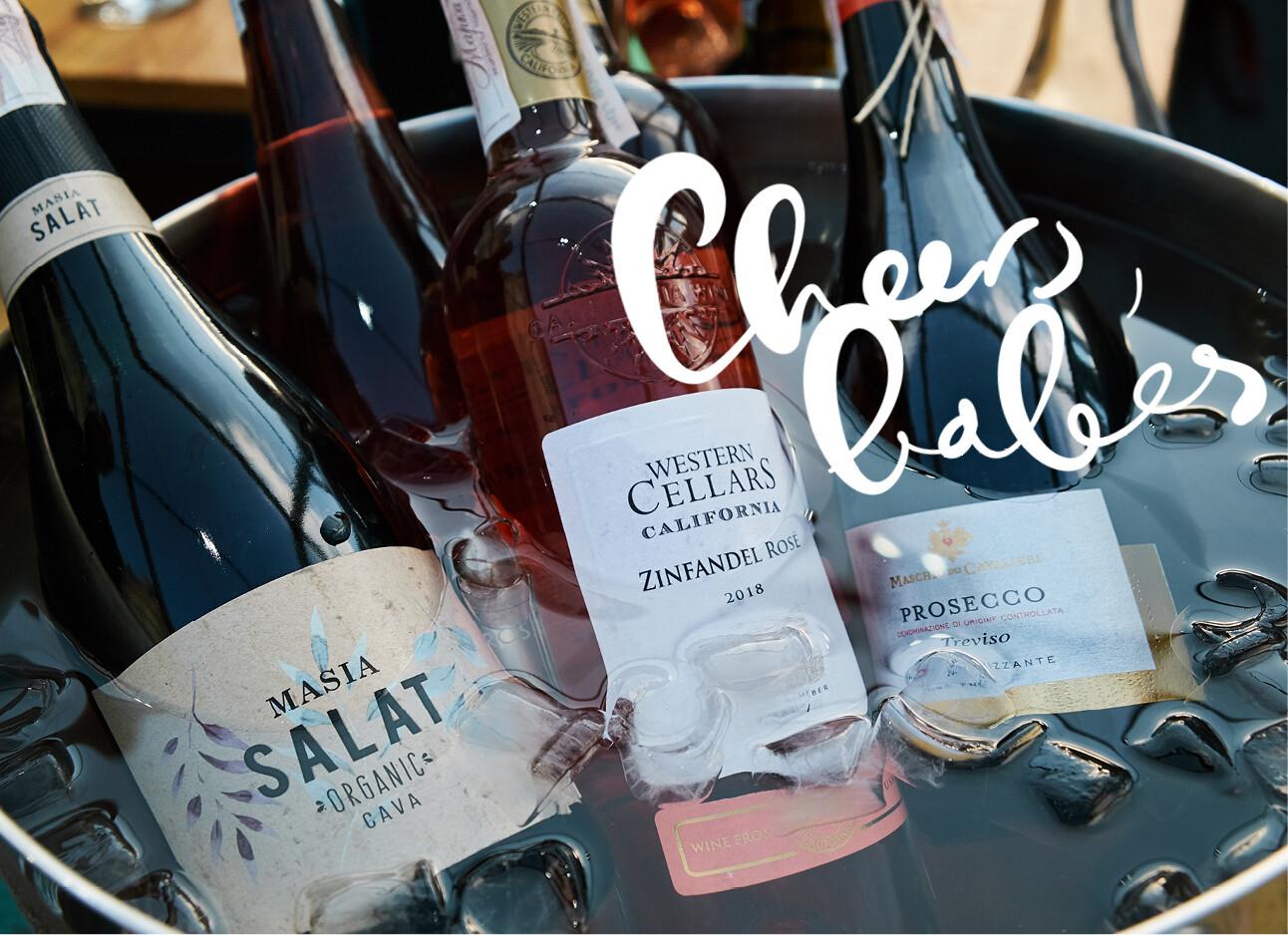 gekoelde wijnflessen