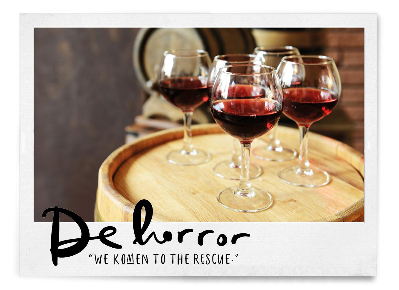 wijnglazen op een wijnton