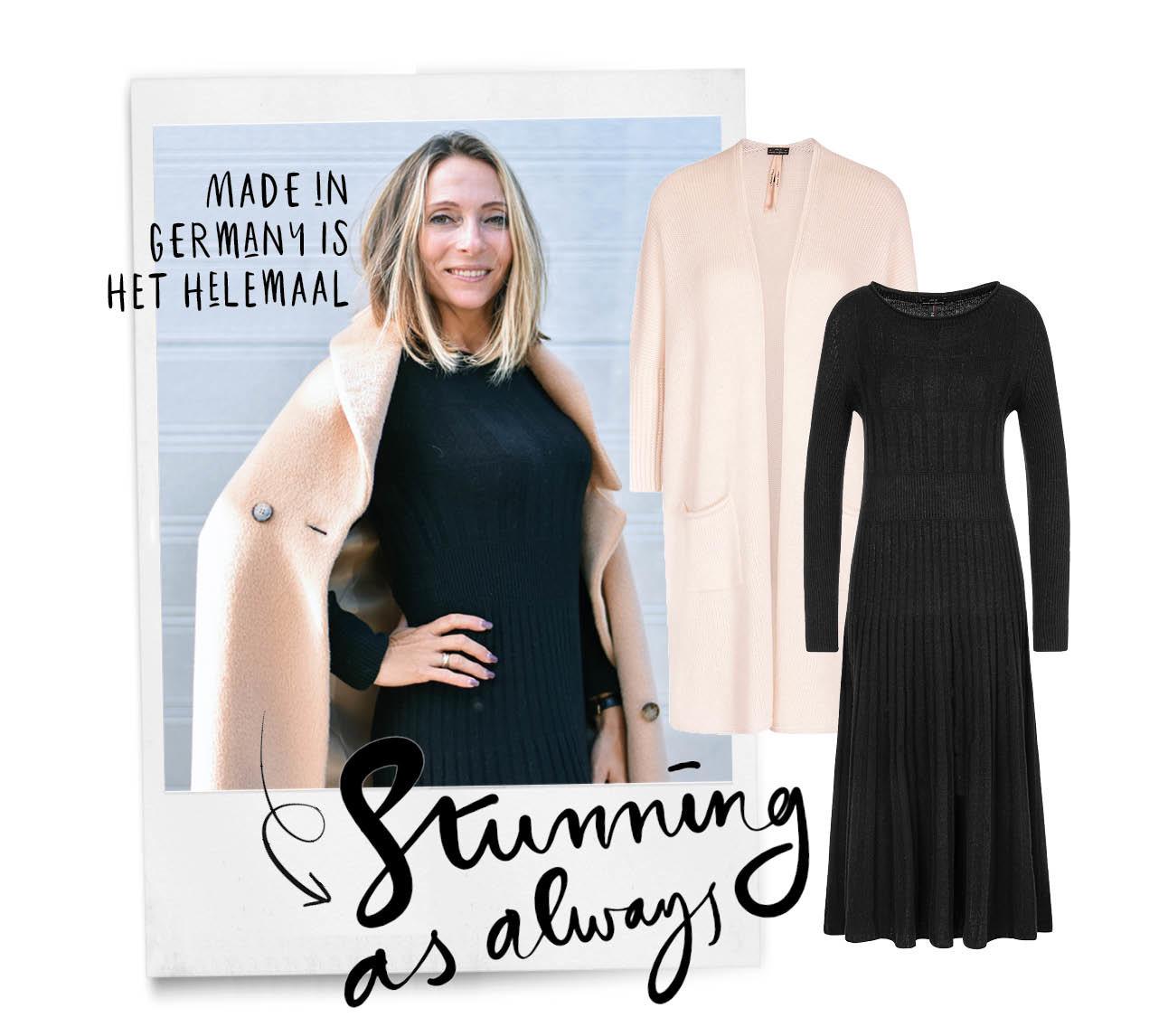 May in een zwarte jurk met een roze jas