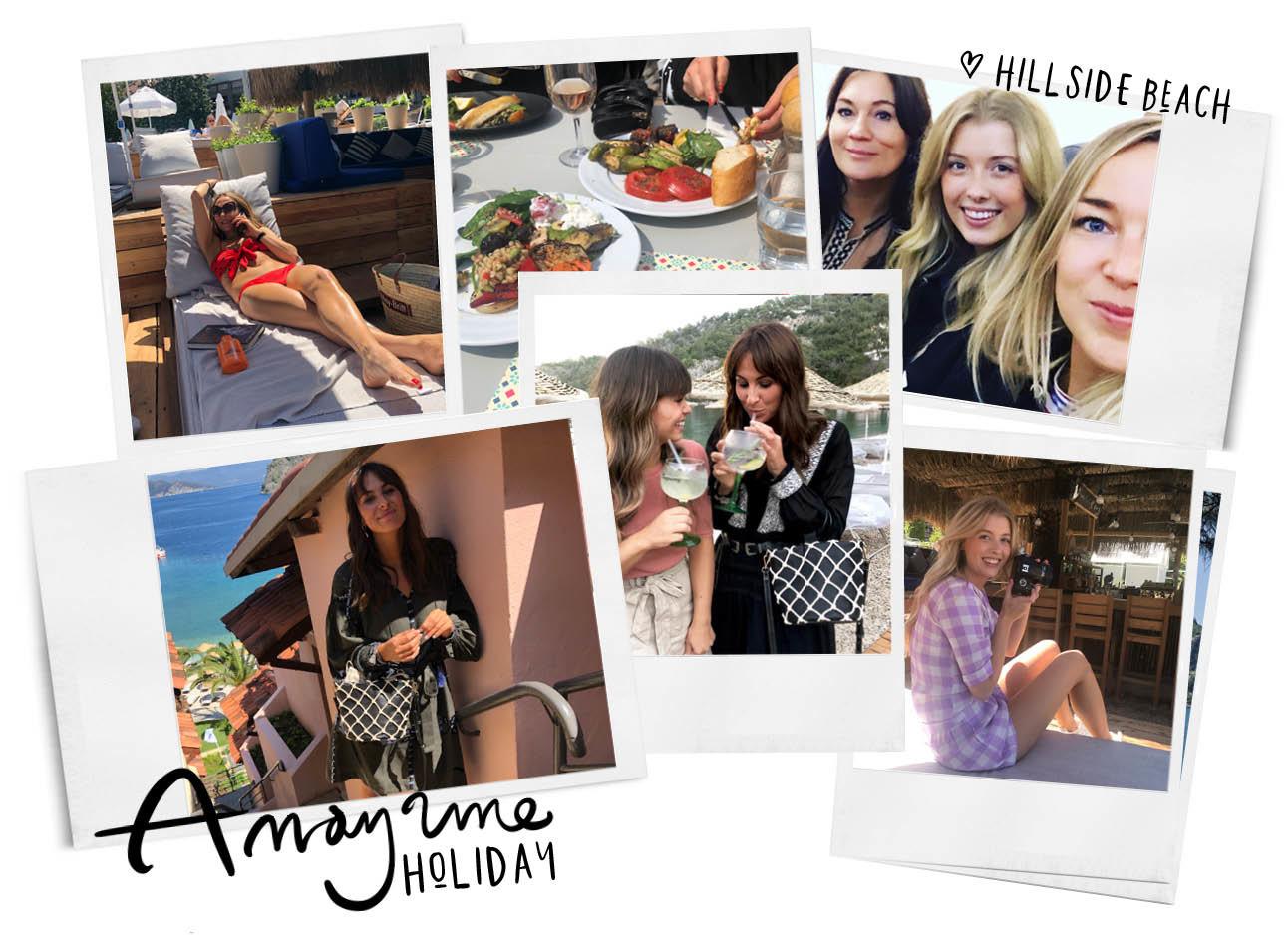 amayzine goes hillside, team amayzine in turkije, adeline, annabelle, en daan in het vliegtuig, lilian bij een roze muur, may-britt aan het zonnen, annabelle in paarse outfit van OU-boutique, eten, kiki en lilian drinken cocktails