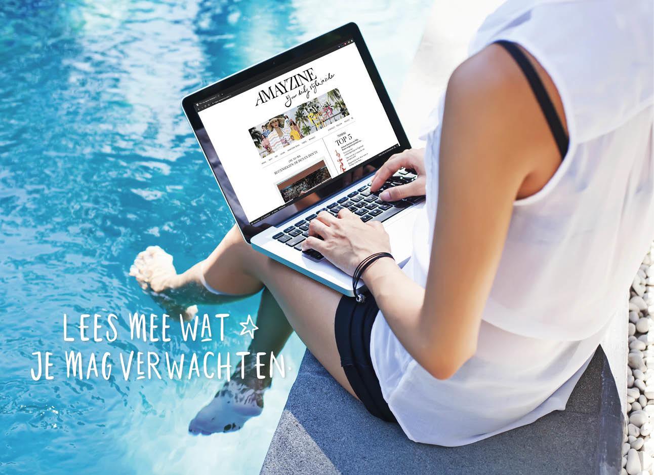 vrouw met voeten in het water aan het werk