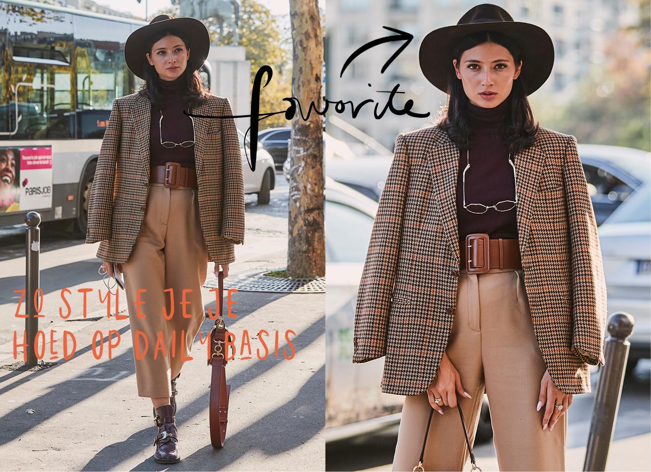 outfit van aardetinten, camel kleurige pantalon, tweet jas, bruine coltrui en donkerbruine hoed, favorite, zo style je je hoed op een daily basis