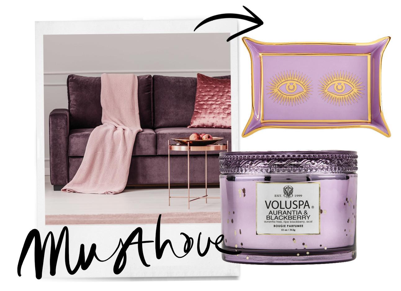 musthaves lila interieur design paarse bank met rosegouden kussen en koperen tafel en sprei over de bank