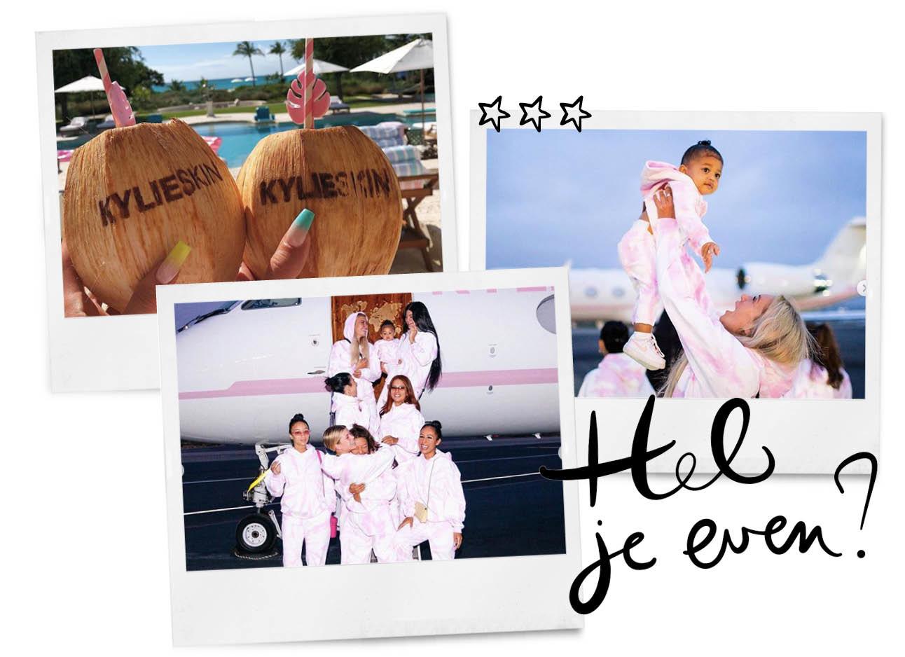 kylie jenner skin trip, airplane, coconuts