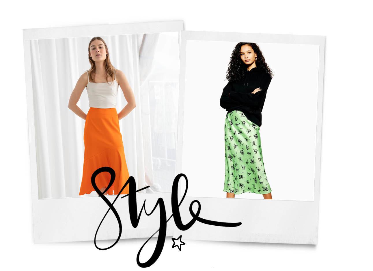 midi skirts oranje en groen met print
