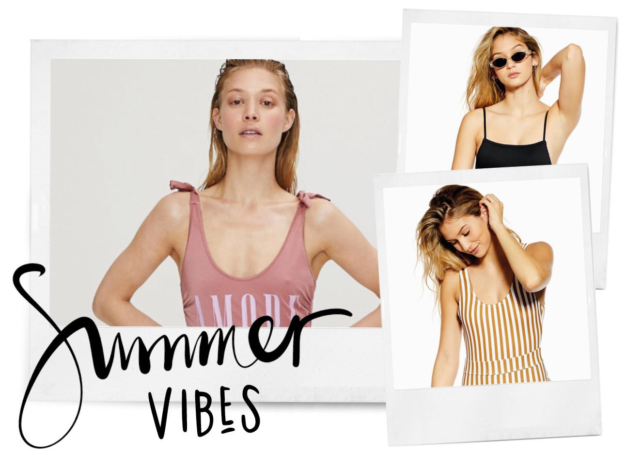 Summer vibes/ drie polaroids met modellen in bakpak. De eerste draagt een roze, de tweede een zwarte en zwarte zonnebril en de derde een wit met geel gestreepte